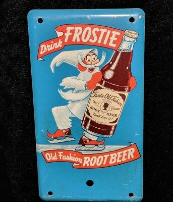 Original 1950's Frostie Root Beer Door Push Sign not Cola Crush Soda