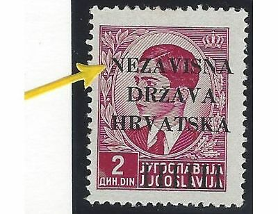 """1941 (12 April). 1st Provisional Issue. 2D from position No. 61, INCOMPLETE """"N"""""""