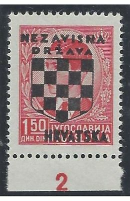 1941 (21 April). 2nd Croatian Provisionals. 1.50D with PLATE NUMBER, VF mint*