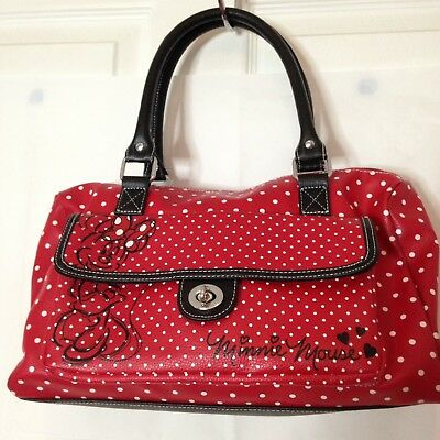 DISNEY MINNIE Mouse Red and Black White Dots Barrel Bag Disney Park Exclusive