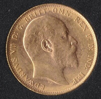 Edward VII-M 1902 Full Gold Sovereign St.George on Reverse