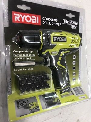 Ryobi Lithium 8v Cordless Screwdriver Drill Driver With Bits
