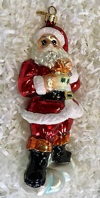 Christopher Radko Glass Christmas Ornament - SANTA HAVING COCOA AND A COOKIE