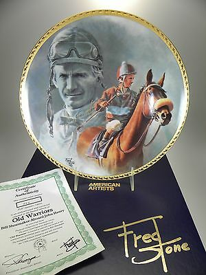 """Fred Stone Old Warriors Horse Collector Plate (#798) 10"""" (Signed Bill Shoemaker)"""