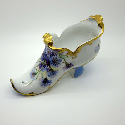 Antique Hand Painted LARGE Porcelain Shoe with Purple Flowers, Signed, 1899 NR