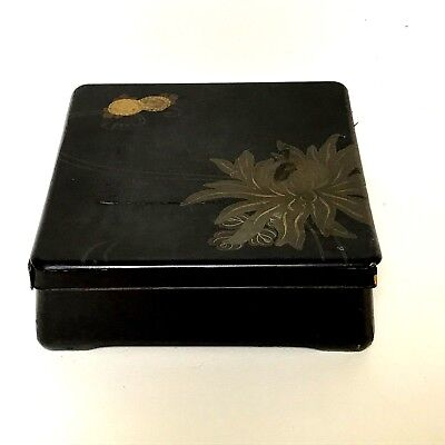 Antique Japanese Lacquered Wooden Ware Black Box With Flower Decoration