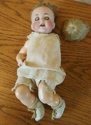 Vintage antique composition cloth doll parts repair with shoes teeth dress socks
