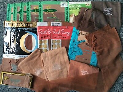 Vintage lot 18 + pairs Nylon Stockings cotton Gaymode Ruth Barry Clearspun NOS !