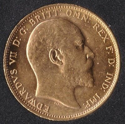 Edward VII 1906 Full Gold Sovereign St.George on Reverse