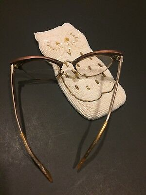 Vintage American Optical Eyeglasses 18 1/10-12k GF Cat Eye Bifocal 5 1/4 w Case