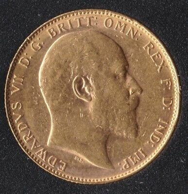 Edward VII 1907-P Full Gold Sovereign St.George on Reverse