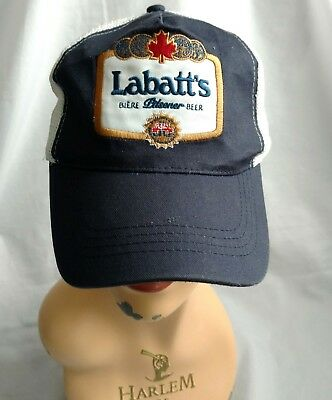 Vtg LABATT BLUE PILSENER Baseball Hat Cap Embroidered Label Patch Mesh Back Adj