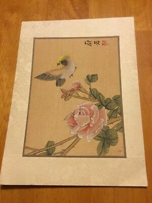 """Original Japanese Painting On Silk Bird And Blossom Signed, Small 6"""" X 8"""""""