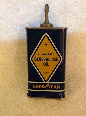 Rare Vintage Goodyear General Use Oil Can Lead Top 4Oz. Oiler With Cap - Nice!