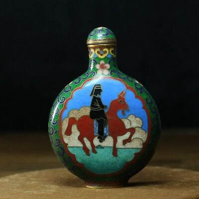 Chinese Exquisite Handmade Horse and figures pattern Cloisonne snuff bottle