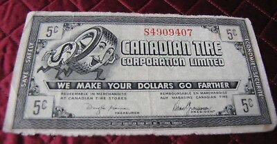 Vintage $.05 Cent Canadian Tire Bonus Banknote On Green Paper, Circulated # 3