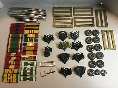 Lot Of Vintage Us Military Campaign Ribbon Bars Medals Pins Buttons Etc
