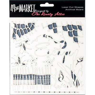 """49 and Market Chippies ~ ESCAPE ~ WHITE 6"""" x 6"""" Chipboard NEW Dusty Attic"""