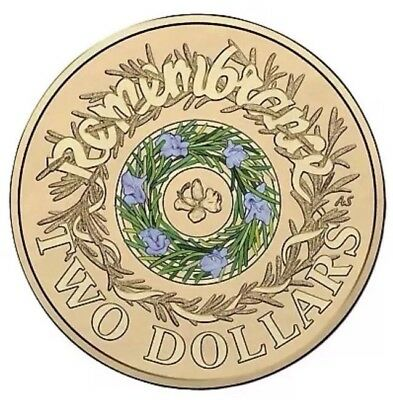 NEW 2017 COLOURED REMEMBRANCE DAY $2 Two Dollar  Coin UNC From Mint Bag