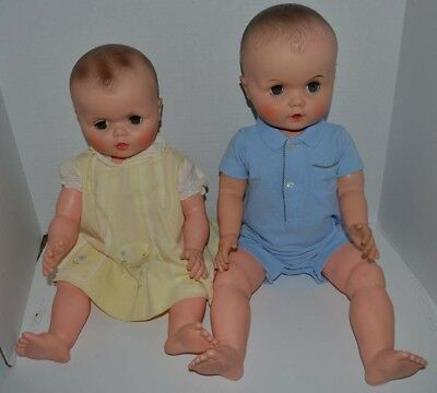 Eegee Vintage 1969 Drink & Wet Baby Carrie 21 In & Unmarked 24 In Doll Lot Twins