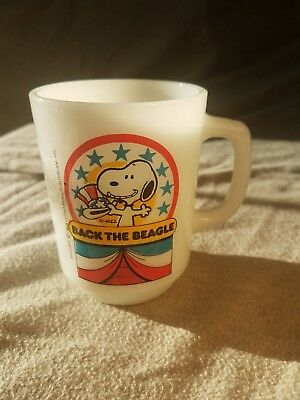 Snoopy Back The Beagle Anchor Hocking Coffee Mug Cup 1980 Collectors Series No.1