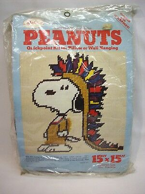 Snoopy Peanuts Quick Point kit for pillow/wall hanging, Malina Determined, NEW