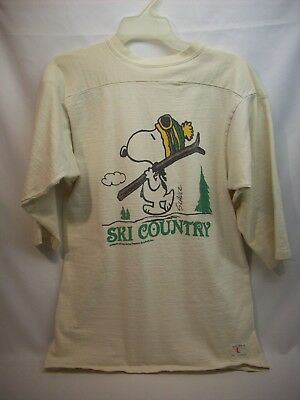 """Snoopy Peanuts adult jersey shirt #1L, """"off white"""", Ski Country, Artex"""