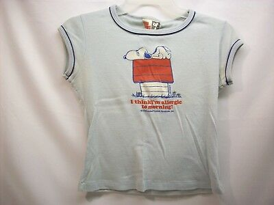 """Snoopy Peanuts adult shirt top #2A """"light blue"""", Allergic to morning, Determined"""