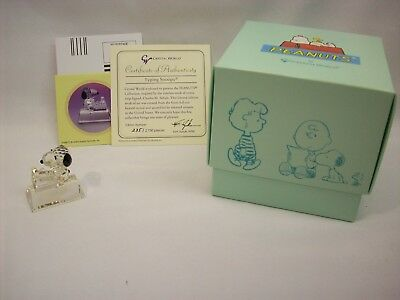 """Snoopy Peanuts crystal figurine, """"typing"""", Crystal World #235, NEW in box"""