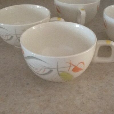 SALEM CHINA CO. FANTASY Pattern MADE IN USA SET OF 4 COFFEE CUPS EUC retro