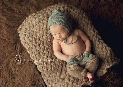 Newborn Boy Crochet Baby Hat & Pants Costume Knitted Photography Prop Outfits