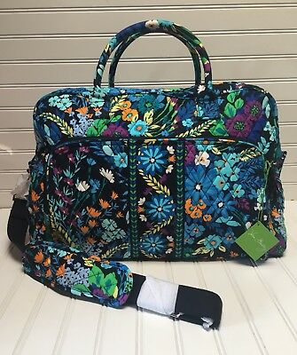 Vera Bradley Midnight Blues Weekender Travel Carry On & Capri Melon Jewelry Dish