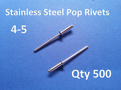 500 POP RIVETS STAINLESS STEEL BLIND DOME 4-5 3.2mm x 11mm 1/8""
