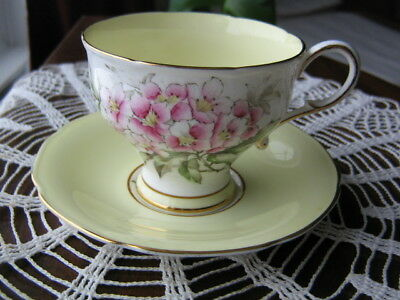 Paragon Yellow and White Corset Cup and Saucer W/Pink Florals