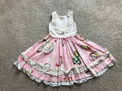 Girls Mustard Pie Pink Butterflies Floral Lace Ruffle Dress Size 5