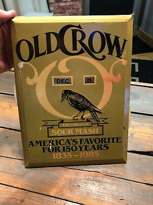 1985 OLD CROW Whiskey Ad CALENDAR 1825-1985  memorable events METAL 9X12
