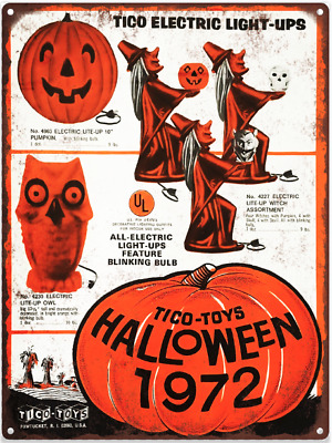 "1972 Tico Halloween Blow mold Witch Owl Mancave Metal Sign Repro 9x12"" 60314"