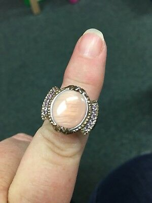 Vintage Sterling Silver Ring with a Huge Peach Colored Center Stone
