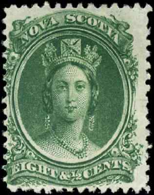 Nova Scotia #11 mint F-VF NG 1860 Queen Victoria 8 1/2c green CV$12.50