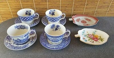Spode The Blue Room Collection (4) Cup Saucer Sets and (2) Leaf Dishes