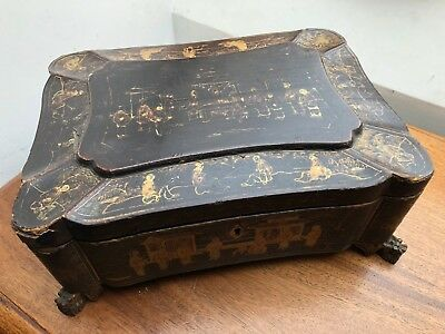 A LARGE ANTIQUE CHINESE EXPORT LACQUERED SEWING BOX CIRCA 19th CENTURY