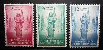 Philippines ... 1946 Proclamation of Independence 3 Stamp Set, MNH