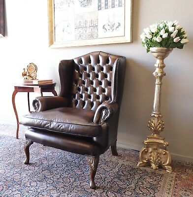 Divine Cigar Tan Brown Chesterfield Grandmother Armchair Lounge Wing Chair