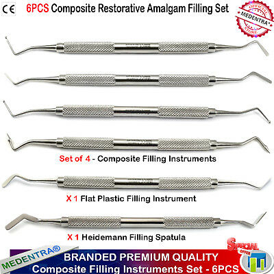 Dental Composite Plastic Filling Restorative Amalgam Placement Instruments 6 PCS