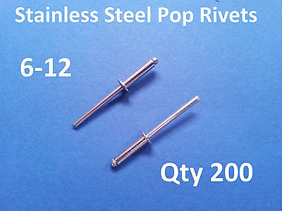 200 POP RIVETS STAINLESS STEEL BLIND DOME 6-12 4.8mm x 23.5mm 3/16""