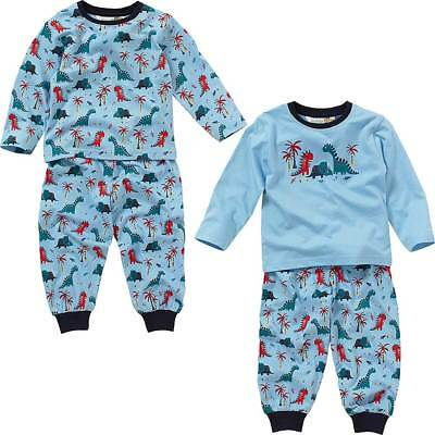 Lullaby Baby Toddler Boys Long Pyjamas Dinosaur Print Cotton Blue Navy 6-23mths