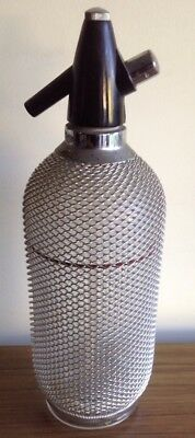 VINTAGE RETRO ORIGINAL SODA SIPHON GLASS MESH ADELAIDE 1940's BAR ORNAMENT PROP