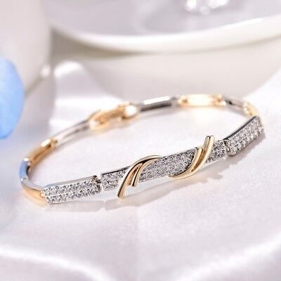 Stunning Antique Women White Sapphire Crystal Gold Filled Bangle Chain Bracelets