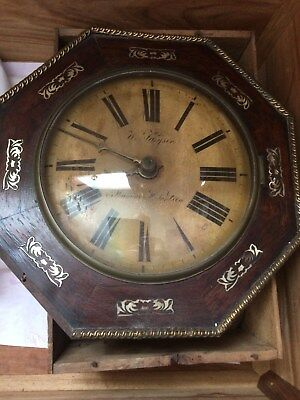 Victorian Weight driven Wall Clock Brass Edge + Mother of Pearl Inlay