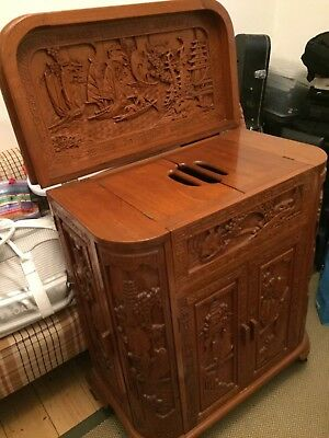 Chinese wooden cocktail drinks cabinet exquisite carving c1950's